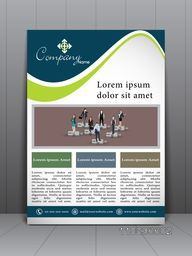 Creative stylish flyer, banner, template or corporate brochure with business people on puzzle.