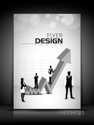 Professional flyer, template, banner or corporate brochure with illustration of business people on up side growth 3D arrow.