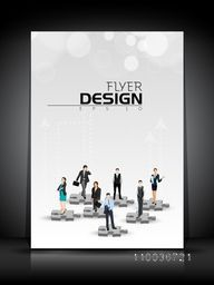 Professional flyer, template, banner or corporate brochure with illustration of business people on 3D puzzles.