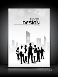 Professional flyer, template, banner or corporate brochure with illustration of business people in front of city view.