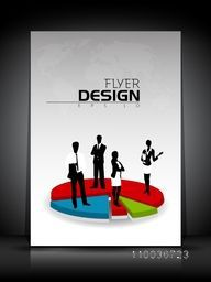 Professional flyer, template, banner or corporate brochure with illustration of business people on 3D colorful pie chart.