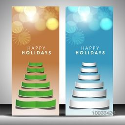 Creative stylish website banner set with paper cutout of Xmas Tree on snowflake decorated shiny background for Happy Holiday celebration.