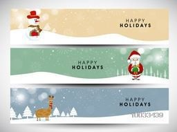 Website header or banner set for Happy Holiday celebration with Santa, Snowman and reindeer.