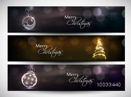 Shiny website header or banner set with Xmas Tree and Xmas Ball for Merry Christmas and Happy Holiday celebration.