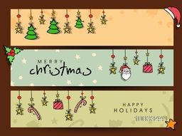 Beautiful gifts, stars, santa face, Xmas Tree and mistletoe decorated website header or banner set for Merry Christmas and Happy Holiday celebration.