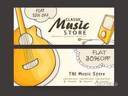 Classic Music Store sale website header or banner set with flat discount offer.