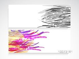 Stylish blank website header or banner set with colorful abstract design.