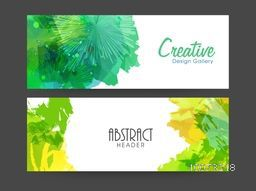 Colorful splash decorated abstract website header or banner set for your business.