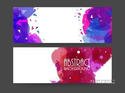 Abstract website header or banner set decorated with color splash.