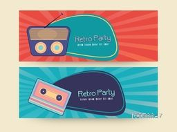 Creative vintage website header or banner set for Retro Party celebration.