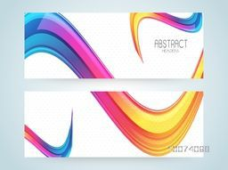 Stylish website header or banner set with colorful glossy Abstract waves.