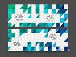 Creative website header or banner set with space for your images.