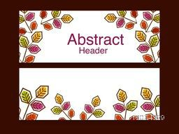 Creative stylish website header or banner set for your business with colorful leaves.