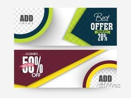 Creative sale website header or banner set with best discount offer of 20% and 50%.