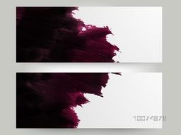 Website header or banner set with creative paint stroke and space for your message.