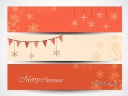 Website header or banner set with bunting and snowflake for Merry Christmas celebration.