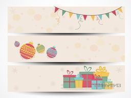 Merry Christmas and Happy New Year 2015 celebration website header or banner set with beautiful bunting, Xmas Balls and gifts.