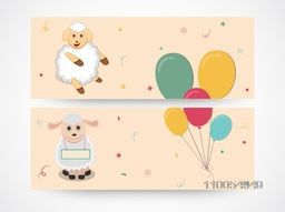 Chinese Year of the Goat celebration banner or website header set with balloon and sheeps