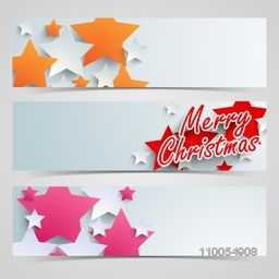 Website header or banner set design with space for your massage for Merry Christmas celebration.