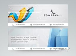 Website header for banner for your company with arrow graph and business symbol on grey background.