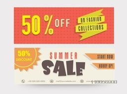 Summer sale website header or banner set with discount offer on fashion collections.