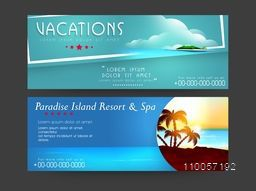 Tour and travel Headers for vacations with resort name and contacts on nature view background.