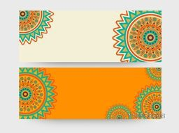 Blank website header or banner presentation with beautiful floral pattern decoration.
