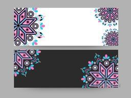 Traditional floral design decorated website header or banner set in two colors with copyspace.