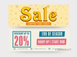 End of Season Sale website header or banner set with 20% discount offer.