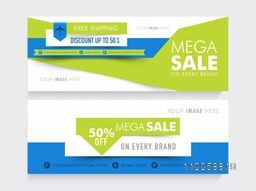 Creative website header or banner set of Mega Sale with free shipping and 50% discount offer.
