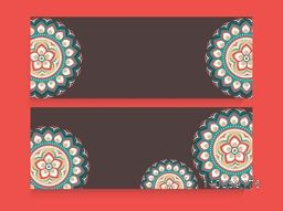 Traditional floral design decorated website header or banner set with copyspace for your text.