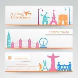 Website header or banner set for vacations.