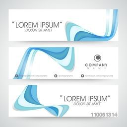 Website header or banner set with abstract blue wave.