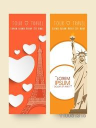 Website header or banner for tour and travel with statue of liberty and eiffel tower.