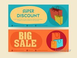 Website sale header or banner design with shopping bags.