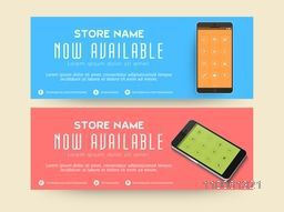 Website header or banner design of smartphone presentation with feature icon for mobile shop.