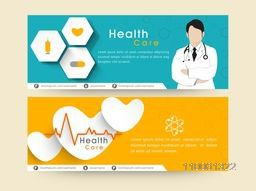 Medical website header or banner set with doctor.