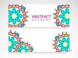 Website header or banner set with beautiful traditional floral decoration.