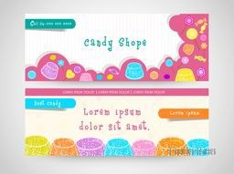 Website header or banner set for candy shop.