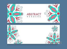 Abstract website header or banner set with beautiful traditional floral design decoration.