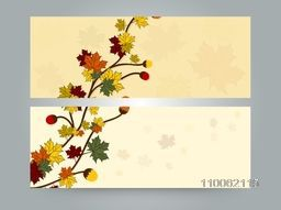 Creative stylish website header or banner set decorative by maple leaves and acorn.