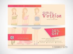Website header or banner set with discount offer for girls fashion store.