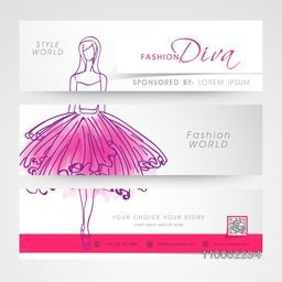 Set of three website header or banner for fashion diva.