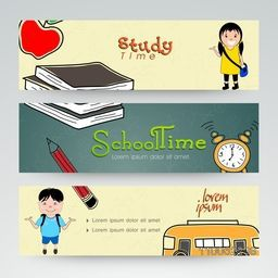 Set of three website header or banner of school time.