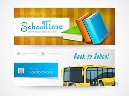 Website header or banner set of back to school and school time.