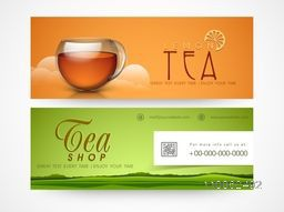 Tea shop banner or website header set.