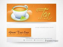 Website header or banner set for tea shop.