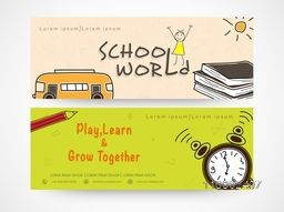 School world banner or website header set.