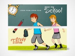 Back to school concept website header or banner set.
