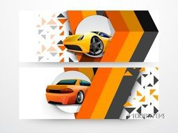 Set of automobile banner or header with car.